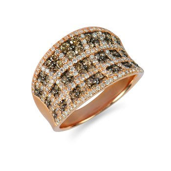 14K RG White & CHM Dia Concave Weave Design Fashion Ring