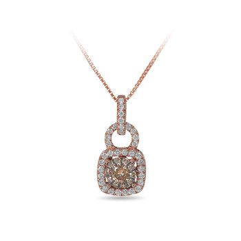 14K RG  Champagne and White Diamond Cushion Shape Halo Pendant in Prong Setting Set with Diamonds on the Bale