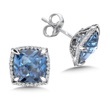 London Blue Topaz and Diamond Post Earrings in 14K White Gold