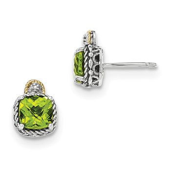 Sterling Silver w/14k Peridot & Diamond Post Earrings