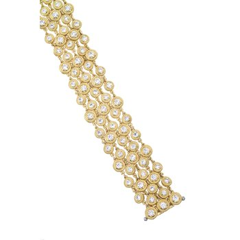 Yellow Gold 5 Strand Bezel Diamond Bracelet
