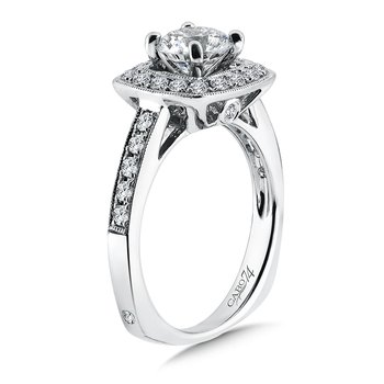 Inspired Vintage Collection Halo Diamond Engagement Ring in 14K White Gold with Platinum Head (1ct. tw.)