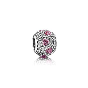 Shimmering Heart, Fancy Pink & Clear CZ