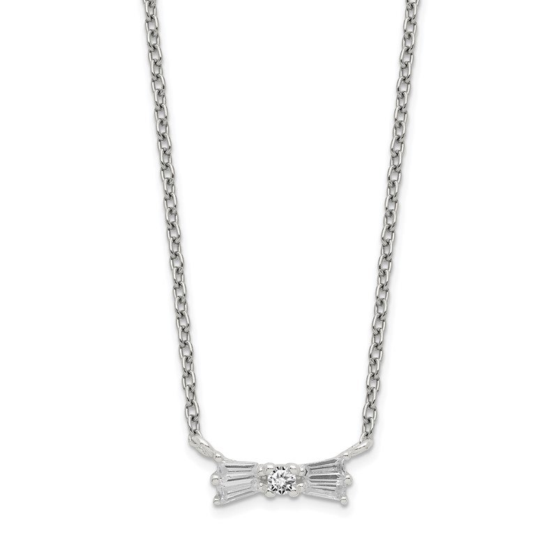 Quality Gold Sterling Silver CZ Bow Necklace w/1.25in ext.