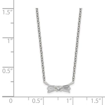 Sterling Silver CZ Bow Necklace w/1.25in ext.