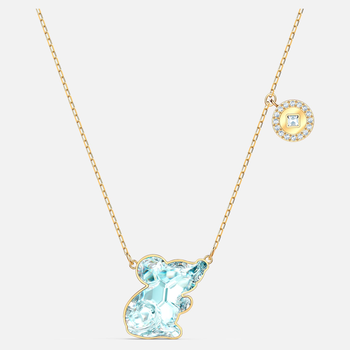 Chinese Zodiac Rat Necklace, Aqua, Gold-tone plated