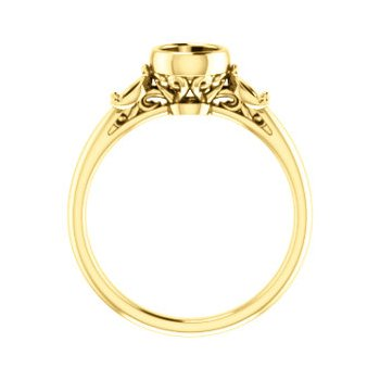 18K Yellow 5.2 mm Round Bezel-Set Engagement Ring Mounting