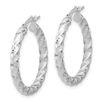 14k White Gold Polished 3mm Twisted Hoop Earrings