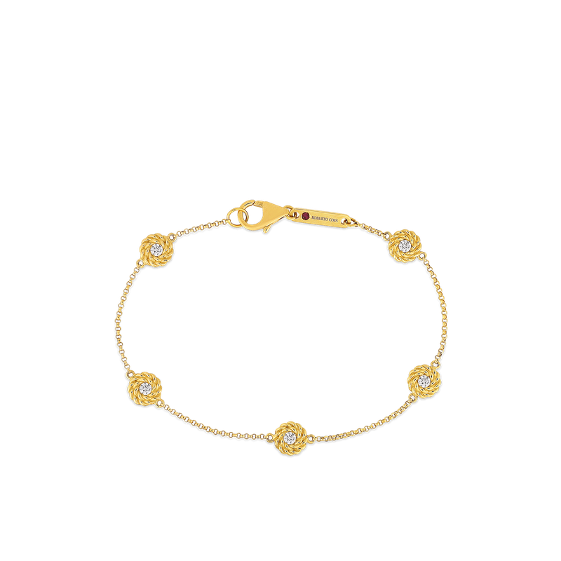 Roberto Coin 18Kt Gold Bracelet With Diamond Stations