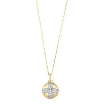 Diamond Medallion Flower Pendant Necklace in Yellow Gold (1/4ctw)