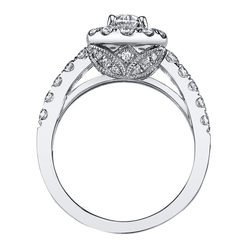 Oval Halo Engagement Ring by Love Story