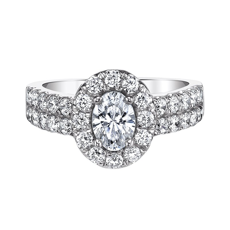 Love Story Oval Halo Engagement Ring by Love Story