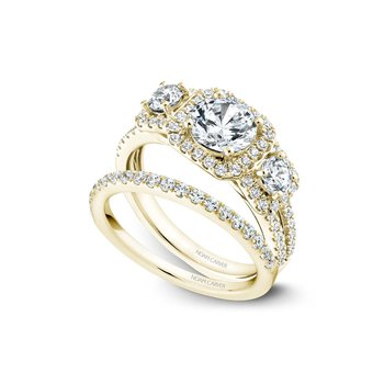 Square Shaped Three-Stone Halo Engagement Ring