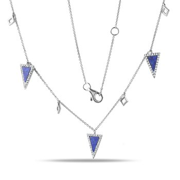 14K layered necklace with Lapis 0.66C & Diamonds 0.31C