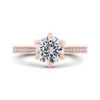 Carizza 14K Rose Gold Round Diamond Engagement Ring (Semi-Mount)