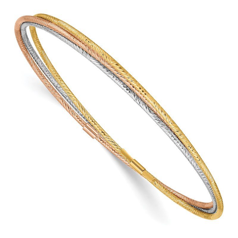 Quality Gold 14k Tri-color Diamond-cut 3 Intertwined Slip-on Bangles