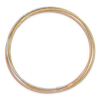 14k Tri-color Diamond-cut 3 Intertwined Slip-on Bangles