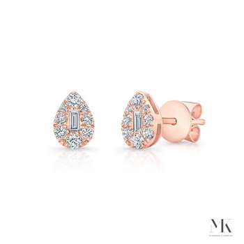 Rose Gold Pear Shaped Cluster Baguette Studs