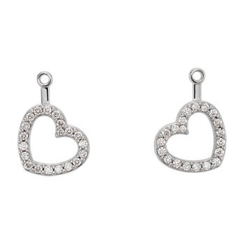 14K White 1/5 CTW Diamond Heart Earring Jackets