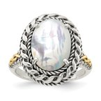 Shey Couture Sterling Silver w/14k Antiqued MOP Ring