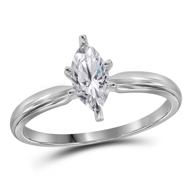 Kingdom Treasures 14kt White Gold Womens Marquise Diamond Solitaire Bridal Wedding Engagement Ring 3/8 Cttw