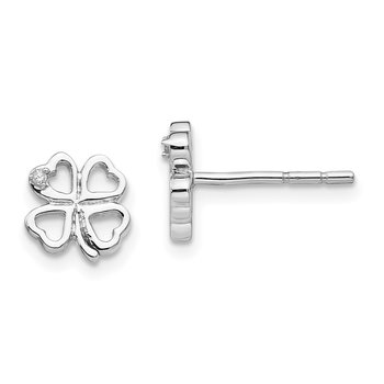SS White Ice Diamond Clover Post Earrings