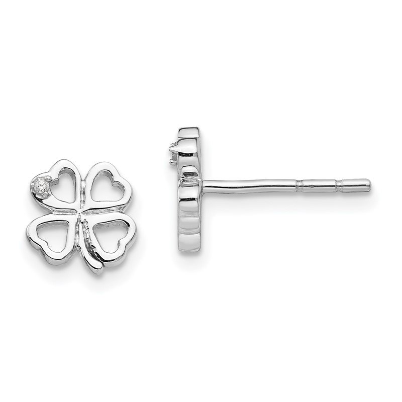 Quality Gold SS White Ice Diamond Clover Post Earrings