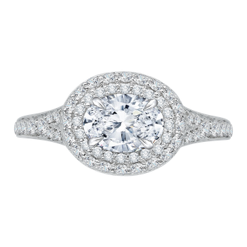 Oval Diamond Double Halo Engagement Ring with Split Shank In 18K White Gold (Semi-Mount)