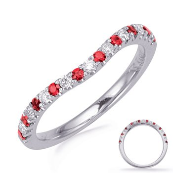 White Gold Ruby & Diamond Band