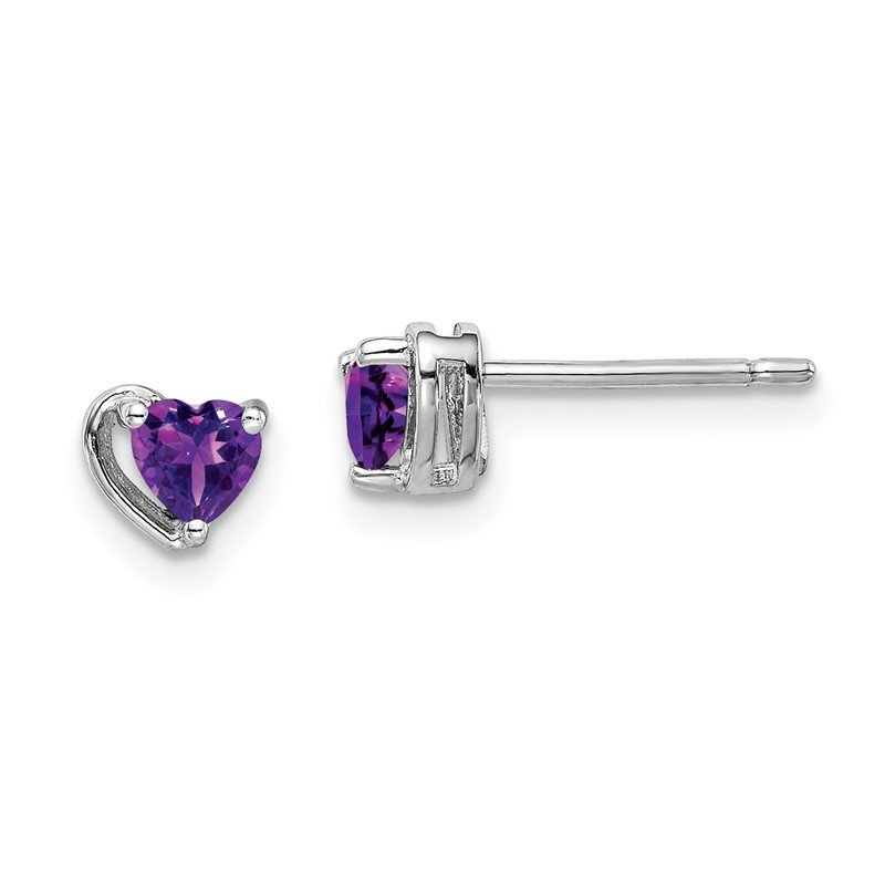 Quality Gold Sterling Silver Rhod-plated Amethyst Heart Post Earrings