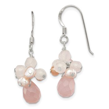 Sterling Silver Rose Quartz and Pink FW Cultured Pearl Earrings