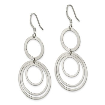 Sterling Silver Polished Circle Fancy Dangle Earrings