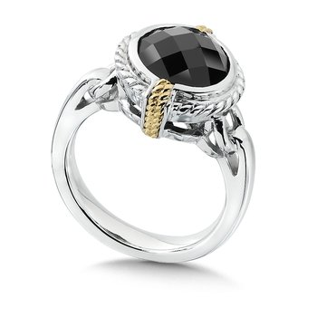 Sterling Silver, 18K Gold and Onyx Ring