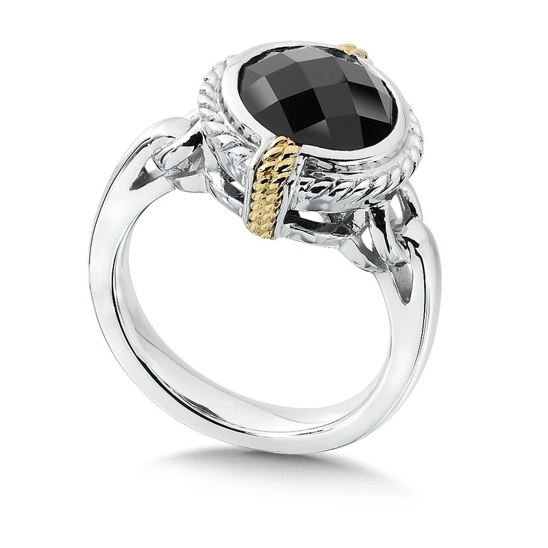Colore Sg Sterling Silver, 18K Gold and Onyx Ring