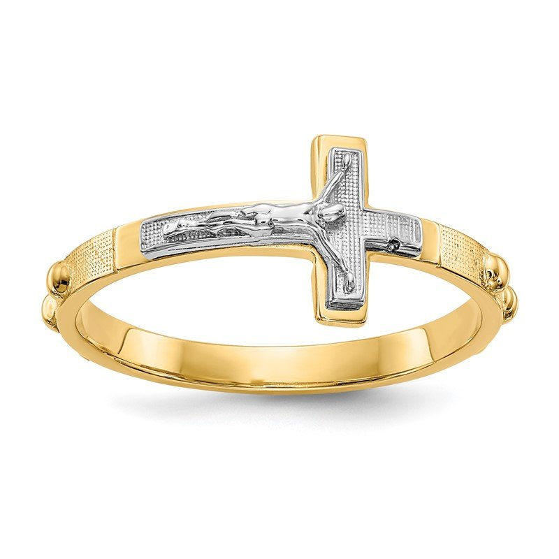 Quality Gold 14K Two-tone Crucifix Rosary Ring