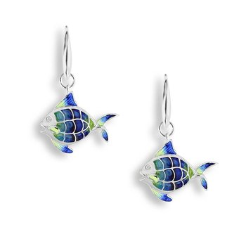 Blue Angel Fish Wire Earrings.Sterling Silver-White Sapphires - Plique-a-Jour