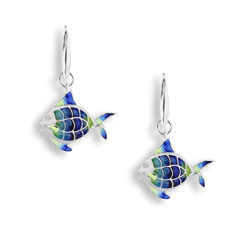 Nicole Barr Designs Blue Angel Fish Wire Earrings.Sterling Silver-White Sapphires - Plique-a-Jour