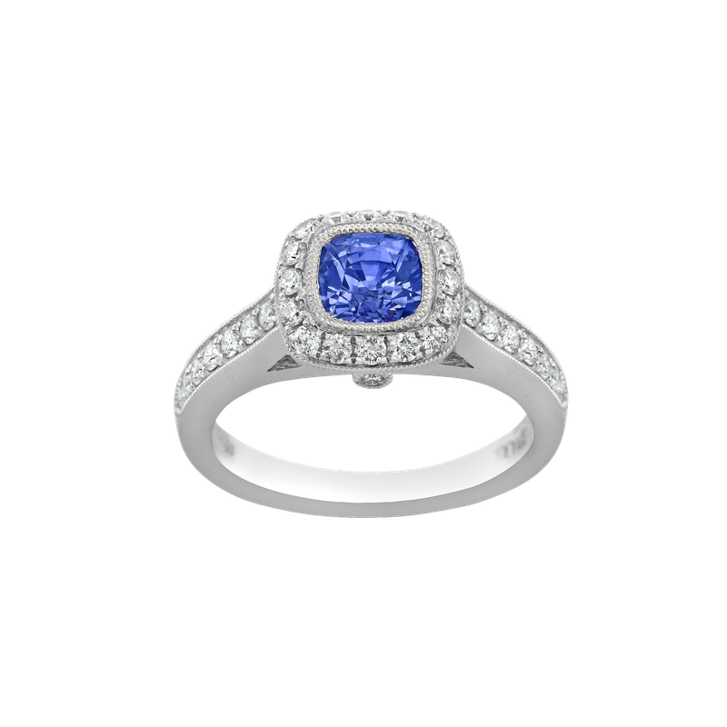 Spark Creations Purple Sapphire & Diamond Halo Ring