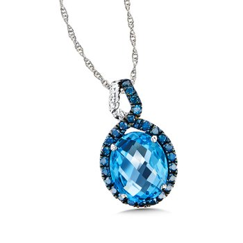 Blue Topaz & Blue Diamond Pendant in 14K White Gold