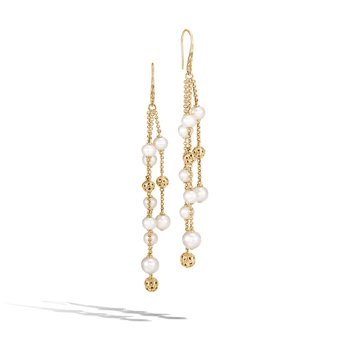 Classic Chain Chandelier Earring in 18K Gold with Pearl
