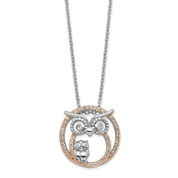 Cheryl M 18.25in Sterling Silver & Rose Gold-plated CZ Owl Necklace