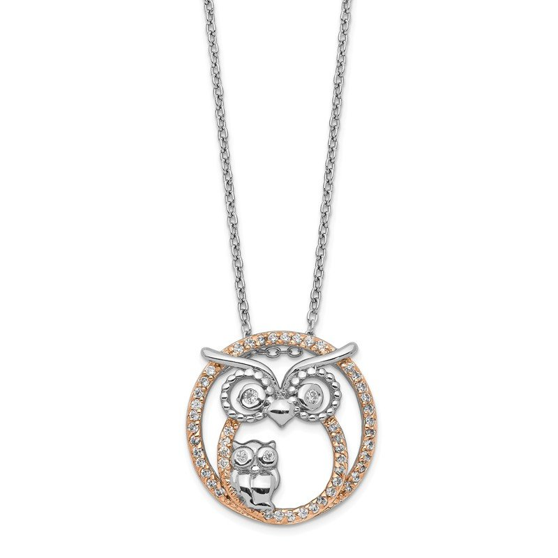 Cheryl M Cheryl M 18.25in Sterling Silver & Rose Gold-plated CZ Owl Necklace