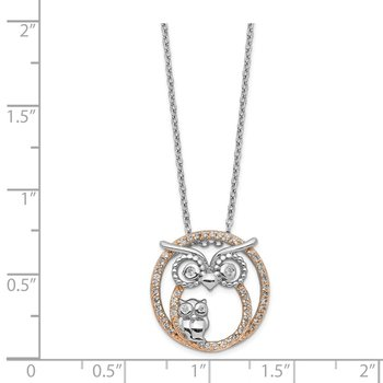 Cheryl M SS & Rose Gold Plated CZ Owl Necklace