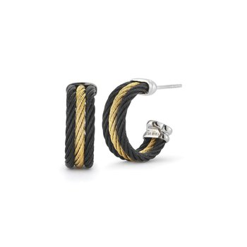 Black & Yellow Cable Small Three Row Hoop Earrings with 18kt White Gold