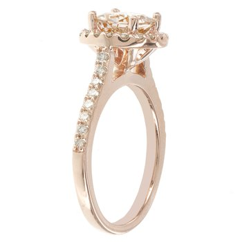 14k Rose Gold 1 1/7ct Morganite Center, 1/2ct Diamond Halo Engagement Ring
