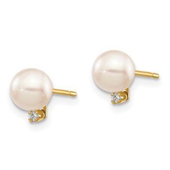14k 5-6mm White Round Saltwater Akoya Cultured Pearl Diamond Post Earrings
