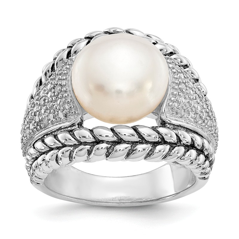 Cheryl M Silver Rhodium Plated CZ White Freshwater Cultured Pearl Leaves Ring Sz 6-8