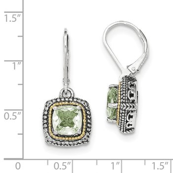 Sterling Silver w/14k Green Quartz Leverback Earrings