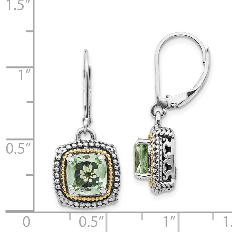 Shey Couture Sterling Silver w/14k Green Quartz Leverback Earrings