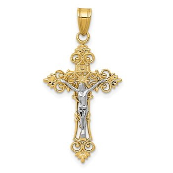 14K Two-Tone Medium Lacy-Edge Inri Crucifix Pendant